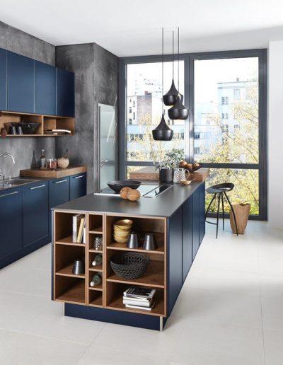 cocina azul combinada madera Zaragoza